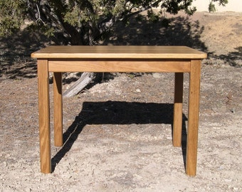 """Wood Children's Table 22"""" H Honey Brown Oak Mission Style - Quality Children's Furniture Made to Order"""