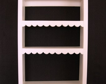 Distressed Pine Shelf 24-in H - French Chic Painted Shelf - Hand-Cut Scallops on Shelf Edges