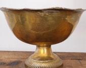 Large Brass Pedestal Bowl