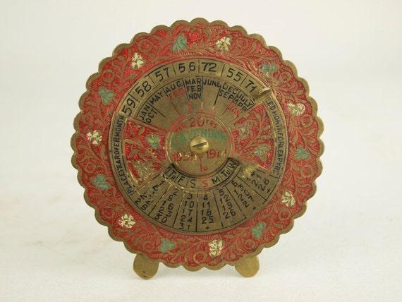 Perpetual Calendar Vintage : Perpetual calendar vintage brass desk