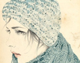 Limited Edition Archival Print 'Female with hat and scarf detail'