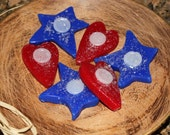 HOT APPLE PIE Scented Primitive Button Heart & Star Americana July 4th Decor Wax Melts Tarts Bowl Fillers Highly Scented