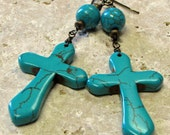 Stone Cross Earrings