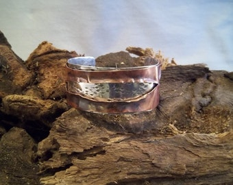 Copper and Sterling Silver Riveted Cuff Bracelet