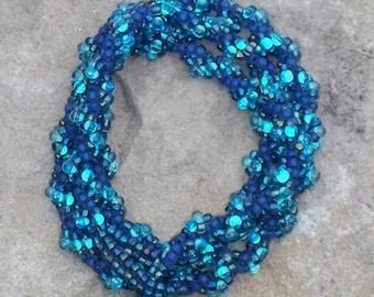 Blue Spiral Weave Necklace/Bracelet