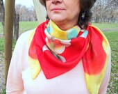 Hand Painted Pure Silk Scarf-Red,Yellow,Mustard,Green and White Colors