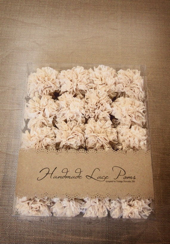 20 Handmade Lace Poms