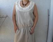 Sale Linen Top Tunic Dress Cotton Lace in Natural Color