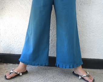 wide leg linen pant linen knickers linen bloomers pleated ruffle sapphire blue made to order