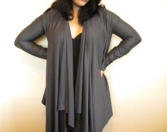 wrap top cardigan drape shirt of lycra jersey in charcoal choose color made to order