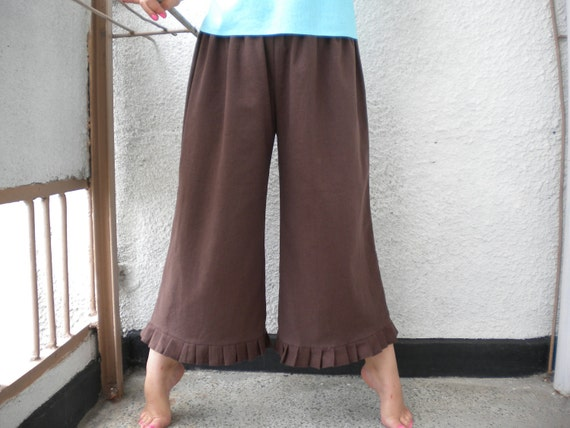 linen pant bloomer knickers wide leg pant pleated ruffle pants  made to order