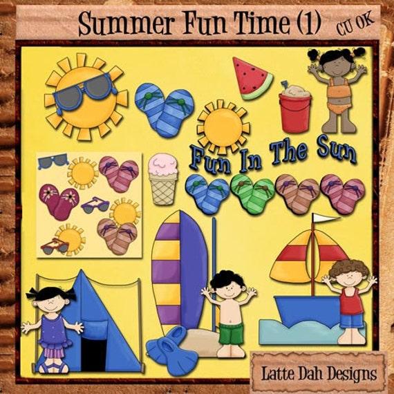 Summer Fun Time Clip Art (1) - for Digital Scrapbooking