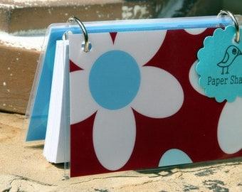 Index Card Binder 3 x 5, Index Card Holder, Personalized Flashcard Holder, Recipe Book, Laminated Note Card Binder, Blank Journal