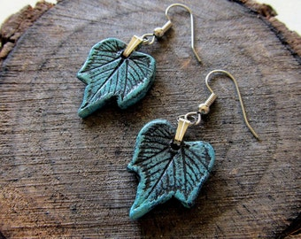 Earrings, grape leaf impression in clay patina