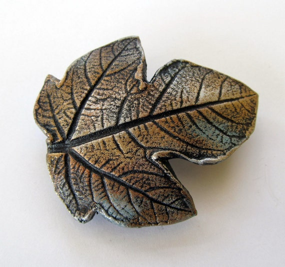 Barrette Fig Leaf impression in clay with patina copper bronze finish