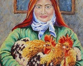 """Roosters, Woman, Farm House, Original, Painting, Home Decor, Green, Red, Gold, Farm House, 22"""" x 28"""" , Ready to hang"""