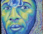 Soldier, Guardian, Blue, Green, Portrait, Original Painting, Acrylic painting, 12 in x 16 in, ready to hang