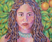"""Original Painting, Woman, Native, Tropical, Portrait, Green, Acrylic, OOAK, Home Decor, 18"""" x 18"""", ready to hang, SALE"""