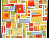 Painting, Squares, Geometric, Acrylic, Original, Olives and Pimentos, Barware, Green, Red, Yellow,10in x10in, ready to hang
