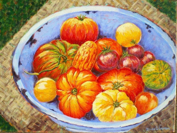 Tomatos, Heirloom, Garden, Harvest, Painting, Original, Acrylic, ready to hang, 18 in x  24 in