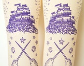 Narwhal Tights Pirate Print Small Medium Amethyst on Cream Women Octopus Narwhal Squid Sailor Tattoo Tattoos