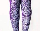 Art Nouveau Printed Tights Medium Large Silver on Purple Print Women Womens Tights