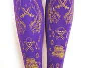 Pirate Printed Tights Medium Large Gold on Royal Purple Women Maritime Nautical Octopus Narwhal Squid Sailor Tattoos