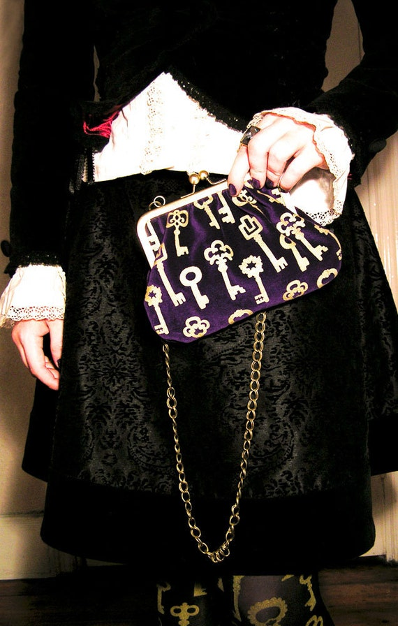 Antique Keys Small Printed Handbag Gold on Royal Purple Velvet Steampunk Victorian Brass Frame Purse with Chain