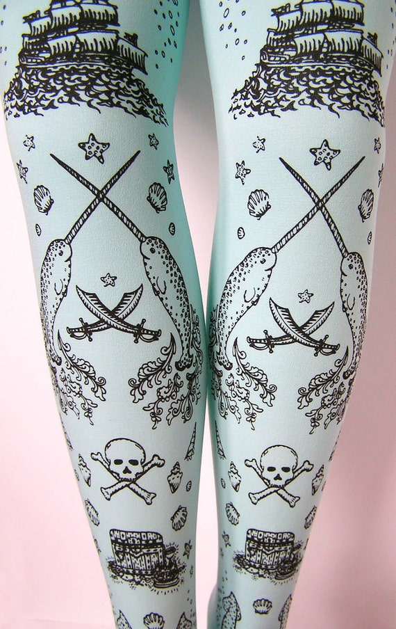 Pirate Printed Tights Small Medium Black Pearl on Blue Women Octopus Narwhal and Squid