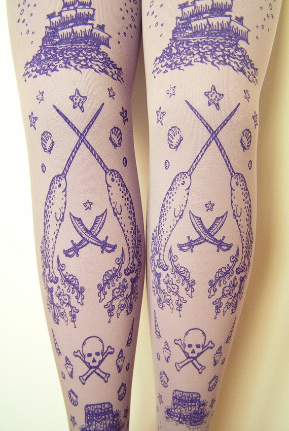 Pirate Printed Tights Extra Large Plus Size Women with Skull Anchor Octopus Narwhal and Squid Amethyst on Lavender