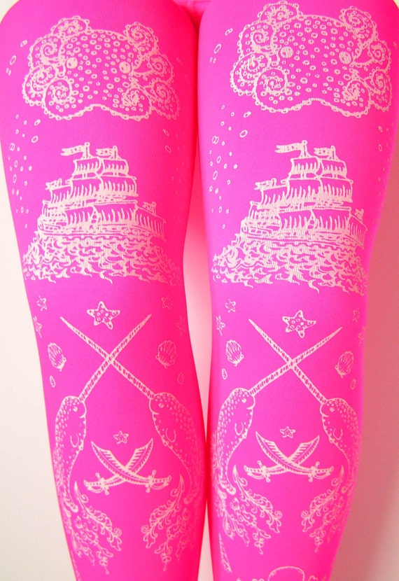 Pirate Printed Tights Pink with Octopus Narwhal and Squid Small Medium White Pearl on Fluorescent Pink Women