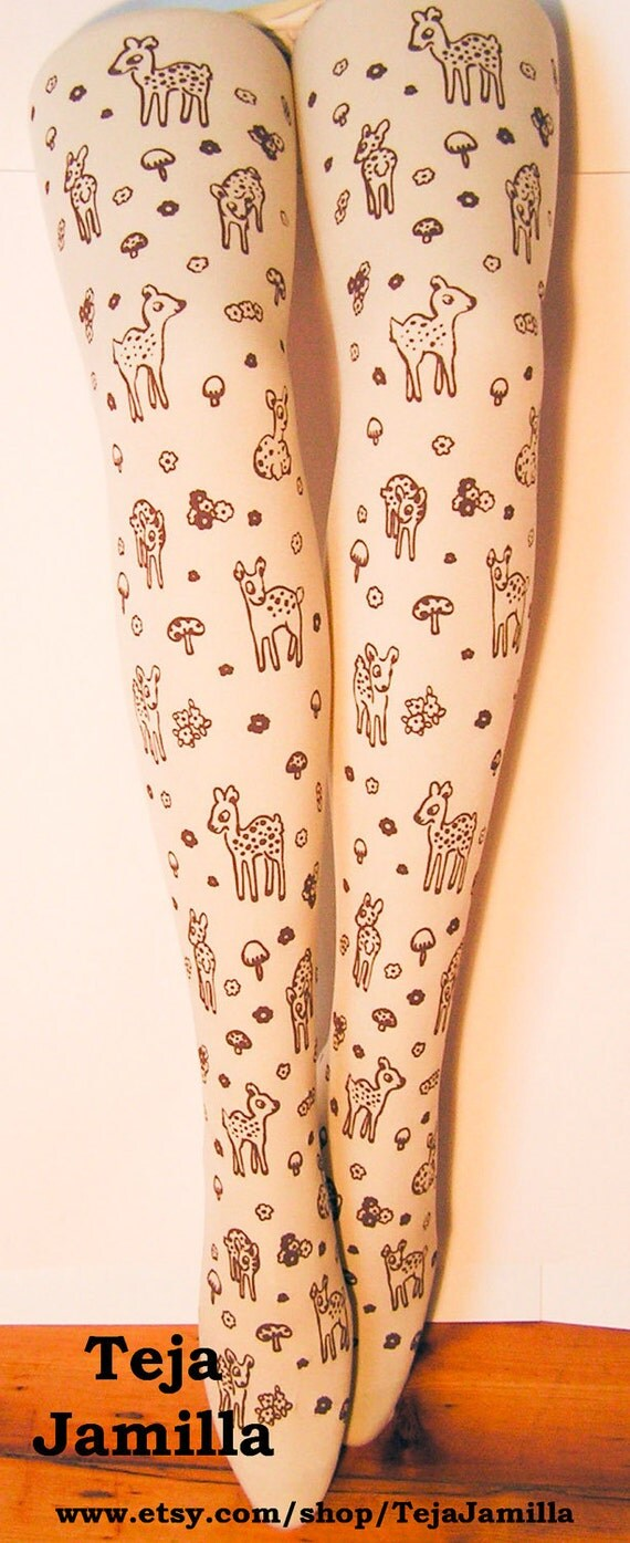 Deer Tights Fawn & Mushroom Print Extra Large Plus Size Brown on Deep Cream Women Mori Girl Forest