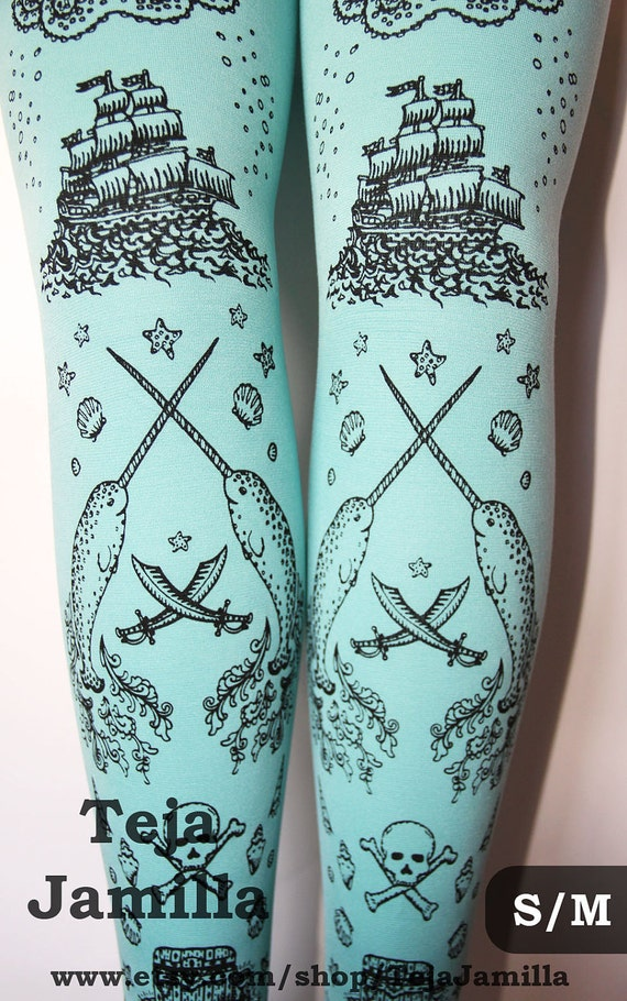 Pirate Printed Narwhal Tights Small Black Pearl on Duck Egg Blue Womens Nautical Tattoos Octopus Squid Sailor