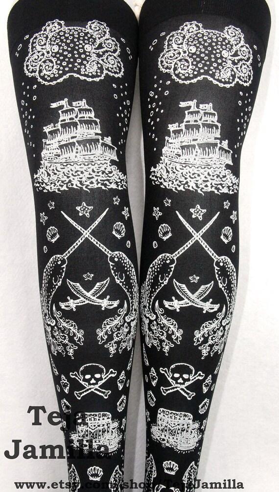 Pirate Printed Thigh High Stockings White Pearl on Black Womens Nautical Tattoo Sailor Octopus Narwhal Squid Anchor Sea Ocean Marine