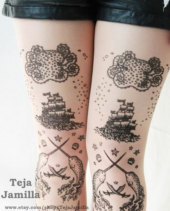 Narwhal Tights Sheer Pirate Tattoo Tights Printed Small Black Pearl on Nude Peach Women Sailor Tattoos Octopus Narwhal Squid Skull Anchor