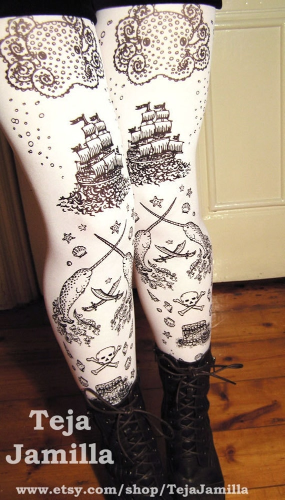 Pirate Printed Tights Womens Sailor Tattoos Small Medium Black Pearl on White Narwhal Octopus Squid