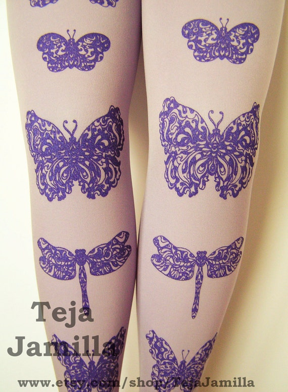 Butterfly and Dragonfly Tights Medium Tall Amethyst Purple on Lavender Lilac Purple Pastel Women Tattoo
