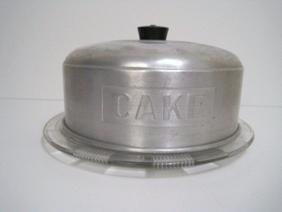 Vintage Aluminum Cake Dome With Crystal Cake Plate