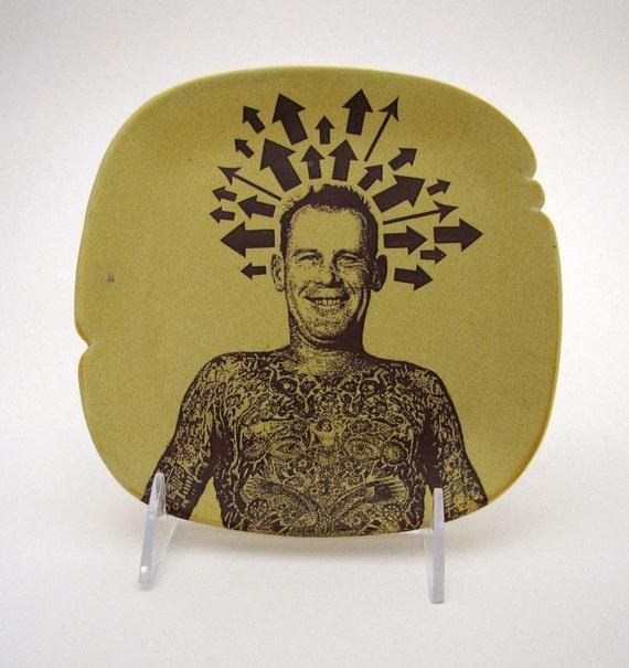 Tattoo Man Sandwich Plate