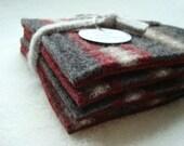 Wool Coasters BURGUNDY & GRAY Coasters Upcycled Mug Rugs Burgundy Coasters