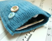 Phone Case, iPhone 4 iPod COCKATOO TEAL, Gadget Sweater Upcycled