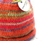 Baby Hat Newborn Preemie ORANGE Hand Knit Cap by WormeWoole
