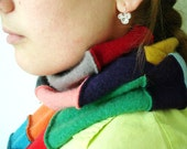 Cashmere Scarf Patchwork Bright Eco Chic Fashion, Recycled Clothing by WormeWoole