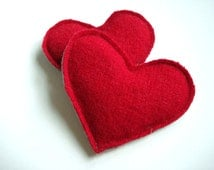 Heart Hand Warmers RED HOT Hearts Handwarmers Felted Sweater Wool Rice Bags by WormeWoole