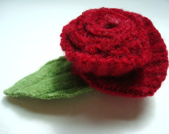 Red Rose Pin CRIMSON Rose / Felted Wool Brooch / Eco Fashion Gift / Felt Rose Boutonniere / Recycled Jewelry / Handmade Wedding / Lapel Pin