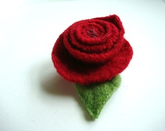 Red Rose Pin Felted Wool Brooch RED FOR LOVE Upcycled Ecofriendly Romantic Rose Brooch by WormeWoole