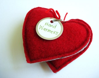 Hand Warmers 6 Pairs RED HOT HEARTS Felted Wool Pocket Handwarmers Lot of Six Teacher Gift Coworker Gift Exchange Eco Gift by WormeWoole