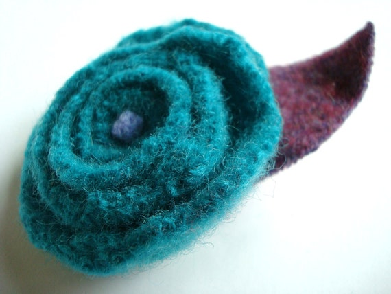 Rose Pin Felted Wool Brooch TEAL PURPLE Upcycled Eco-Friendly Romantic