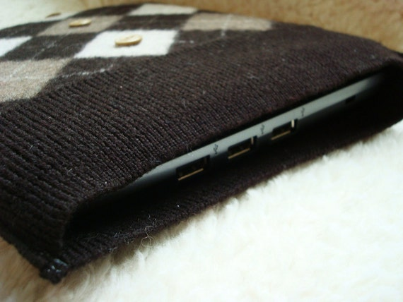 iPad Sleeve Netbook Case Gadget Sweater CHOCOLATE ARGYLE  Cover Felted Sweater Wool by WormeWoole