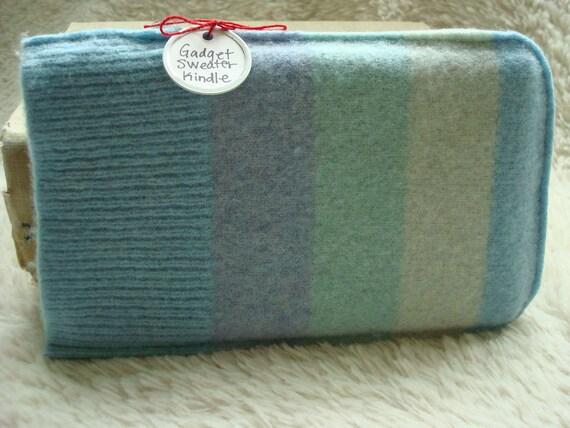 Kindle Case, Kindle Sleeve, Aqua Stripes Gadget Sweater Felted Wool
